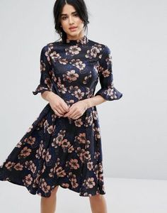 Chi Chi London Floral Jacquard Midi Dress With Fluted Sleeve