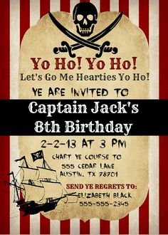 Printable Pirate Invitation by DesignsbyDanielleE on Etsy, $10.99