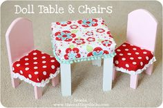 tutorial: painted wooden doll table + chairs with fitted tablecloth and chair covers {fits American Girl-sized dolls} Ag Doll House, Doll House Crafts, Doll Crafts, Diy Doll Table And Chairs, Diy Craft Projects, Crafts For Kids, Doll High Chair, American Girl Furniture, Girls Dollhouse