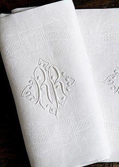 Antique Linens  Antique Monogrammed Linen Damask Napkins | Monograms |  Pinterest | Monograms, Damasks And Napkins