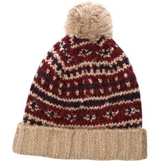 River Island Red fairisle pattern knit bobble beanie (37 BRL) ❤ liked on Polyvore featuring mens, men's accessories, men's hats, hats and sale