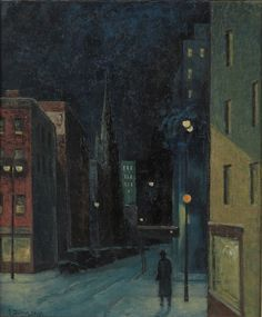 Snowy Night, Eastside 1954-5 by Ernest Fiene (German/American 1894–1965)