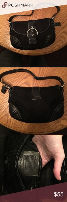 Black Coach Purse 💯 Percent Authentic!!! It's in very good condition, maybe used twice then sat in my closet. It has two areas for stuff on the inside. This Purse would be perfect for those light days when you don't feel like carrying much. Very classic style, goes with everything. There is some discoloration on the back, but nothing that ruins the purses beauty or function!!! Coach Bags Mini Bags