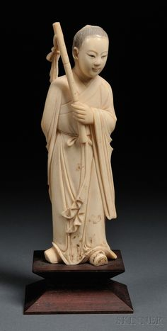 19 TH..CHINESE IVORY FIGURE...... ...PARTAGE OF CURIEUSE CHINE....
