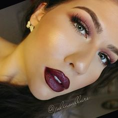 "Vampy lips are my fave  .  Lips: Jordana lip liner in ""Cabernet"" with @sunnaclaorecosmetics lipstick in ""Rebel"""