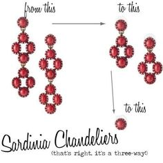 Stella & Dot versatility! The Sardinia chandeliers can be worn as a statement chandelier, a mid size chandelier or a stud. Love!