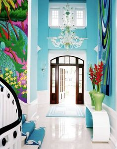 I Love This  Blue Entryway, Painted Walls With Bright Colors. | Inspiring  Interiors | Pinterest | Turquoise, Bright And Bright Walls