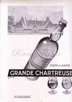 Original Vintage French Ad Chartreuse liquor 1954 by reveriefrance on Etsy