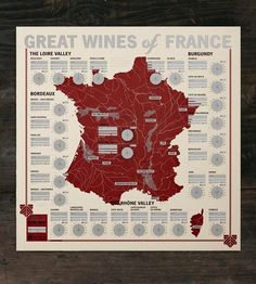 Taste your way around the great wines of France with this tasting map, with space to review a bottle from each major region.