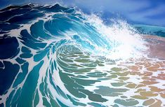Showcase of surf art by Cornwall based British surf artist Lamorna Penrose on Club Of The Waves Ocean Wave Painting, Watercolor Wave, Wave Art, Ocean Wave Drawing, No Wave, Tenacious D, Let's Make Art, Digital Museum, Guache