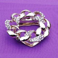 $4.18 Elegant Style Rhinestone Flower Shape Brooch For Women