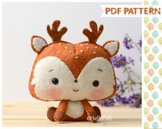 PDF Pattern, Woodland Series 2: Deer, Felt Woodland Animal Pattern, Felt plush. Sewing pattern, handmade.