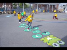 PLAYFORM - Playground marking games for kids, Company logos and Street decorations Kids Backyard Playground, Preschool Playground, Playground Games, Playground Design, Outdoor Activities For Kids, Outdoor Games, Games For Kids, Asphalt Games, Playground Painting