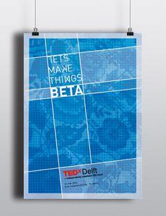 Poster design TEDx Delft, Let's make things bèta