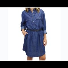 """☄Denim Dress☄ Real Cute Denim Dress-Lying Flat Across is 23""""- Front Length is 32""""-Back Length is 35""""-Belt Not Included-MAKE AN OFFER‼️‼️‼️ """"Relished"""" Dresses"""