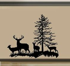 Deer Family, Buck, Doe, and two Fawns ~ Wall Decal Wood Burning Stencils, Wood Burning Crafts, Wood Burning Patterns, Wood Burning Art, Hirsch Silhouette, Silhouette Clip Art, Silhouette Design, Buck Silhouette, Stencil Art