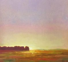 Morning Glow: fine art, impressionism, landscape, oil painting on linen measuring 13 x 13 inches by artist Julie Houck