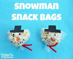 Christmas Snowman Snack Bags for kids from KitchenFunWithMy3Sons.com