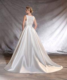 OTAWA - Vestido de noiva de mikado com pedraria nas costas