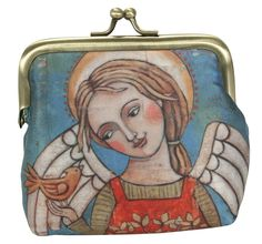 Angel with bird kiss clasp coin purse
