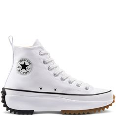 Run Star Hike High Top Bianco/Nero/Gomma white/black/gum Converse All Star, Mode Converse, Converse Chuck Taylor All Star, Converse Shoes, Custom Converse, Diy Converse, Converse Logo, Black Converse, High Top Boots