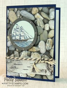 rock background, driftwood and ship make a nice masculine looking nautical card