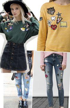 calça jeans com patches