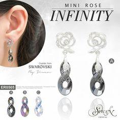 """Mini Rose Infinity"" ($47) #Swarovski #Crystal #infinity design  size  18 mm.#titanium  E-mail : nanthwan13@yahoo.com"