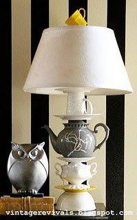 Lamp. Kettle. Cutlery.