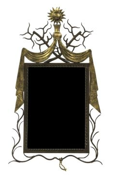 A Neoclassical Style Iron and Gilt Metal Mirror, in the manner of Gilbert P