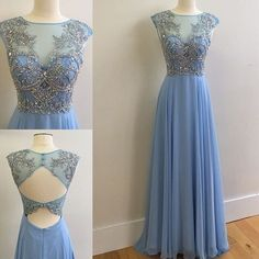 Sequins prom dress, homecoming dress, Stunning blue chiffon sequins long evening dress for teens