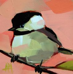 """Daily+Paintworks+-+""""Chickadee+no+248+Painting""""+-+Original+Fine+Art+for+Sale+-+©+Angela+Moulton"""