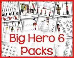 Big Hero 6 printable packs for tot, prek, and kindergarten, first, second, and third