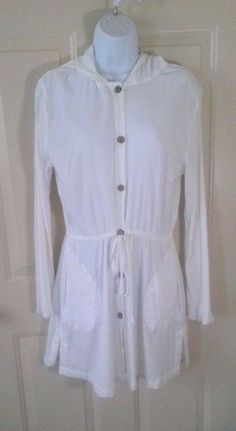 St Johns Bay Womens Sz L White Swimsuit Cover Up With Hoodie Cotton AS IS #StJohnsBay #HoodieCoverUp