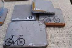 Concrete Coasters Bike series by MDCInteriors on Etsy, $23.00