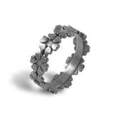Hearts Flowers Silver Band Wedding Ring by EttySilverJewelry