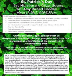Reservations are now open for the 2015 St. Patrick's Day dinner and lecture. Gratify your Irish... spoil someone with an afternoon of Celtic music, indulge your pallet with Irish fare and beer...and expand your knowledge of the natural world. Reserve online soon at jmu.edu/arboretum #St.Patrick'sDay