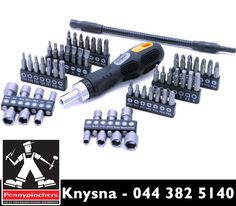 The #Rolson 58 piece screwdriver, ratchet and socket set is perfect to keep around the household or in anyone's tool bag because you never know when you might need to screw/unscrew something. Get yours from #PennypinchersKnysna.