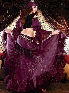 Cotton Lurex Tribal Gypsy Belly Dance Costume - Skirt, Gypsy Top, Harem Pants, Hip Scarf