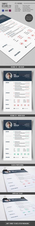 Simple Resume/CV - V2 - Resume Template PSD, InDesign INDD. Download here: http://graphicriver.net/item/simple-resumecv-v2/10943008?s_rank=238&ref=yinkira