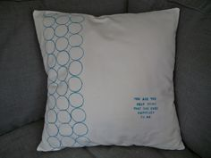 Be Sweetly Inspired: Throw Pillow Cover- Toilet Paper Roll Stamping on Fabric