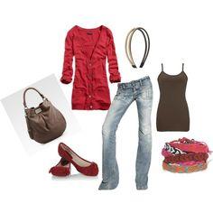 boyfriend jeans, comfy cardi, friendship bracelets and a headband. perfect, created by shauna-rogers.polyvore.com