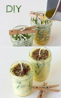 duftkerzen selber machen, behälter aus glas, klammer, schnur