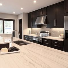 Drawing Dept Architects - kitchens - espresso cabinets, espresso kitchen cabinets, stained cabinets, stained kitchen cabinets, ceiling height cabinets, ceiling height kitchen cabinets, white countertops, white stone countertops, island sink, island dual sink, Quartzite Countertop,