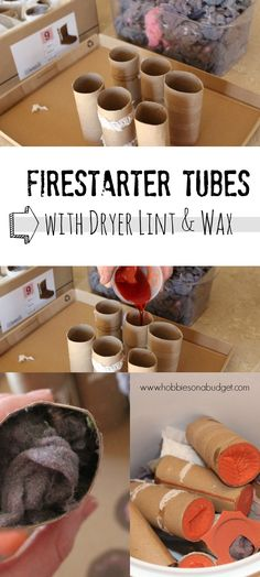 Looking for a way to reuse old toilet paper rolls?  How about making firestarter tubes out of toilet paper rolls, wax and dryer lint?  These are great to help get your wood burning stove going during the winter months!