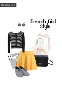 ca2cb679a 'French Girl Style' by me on Limeroad featuring Stripes Black Tops with  Yellow Skirts