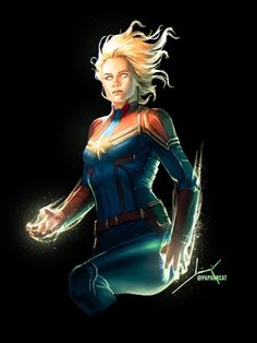 A quick paint of Captain Marvel to start the week. Captain Marvel News, Captain Marvel Carol Danvers, Marvel Comics Art, Marvel Women, Marvel Dc Comics, Marvel Avengers, Avengers Women, Marvel Comic Character, Marvel Movies