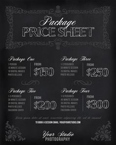 Photography Price List Session Packages by PhotographTemplates