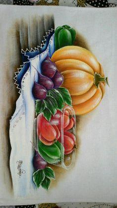 Pintura em tecido - Guardanapo - Abóbora e legumes