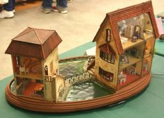 Back view showing the rooms in the two quarter scale Italian villa minis exhibited at the Seattle Dollhouse Show by Cindy Diamond